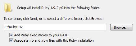 Ruby installer window