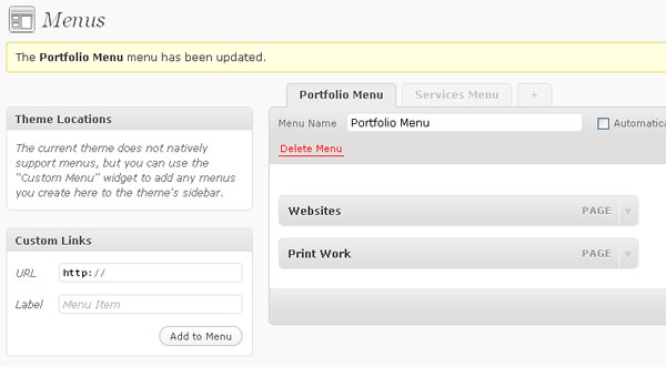 WordPress Menu Manager