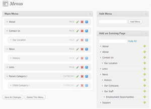 Wordpress 3.0 menu manager screen shot